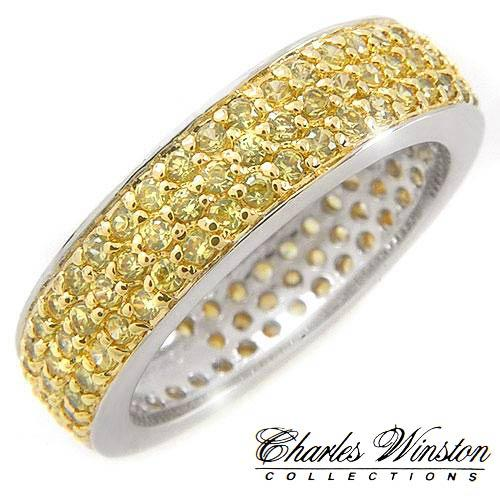 Charles Winston pave of over 3ctw yellow stone in solid sterling silver
