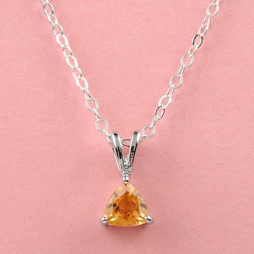 Genuine half  ct Citrine for the dainty on sterling silver 16 in. chain