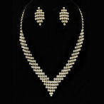 V shaped elegant necklace with earrings in gold or silver