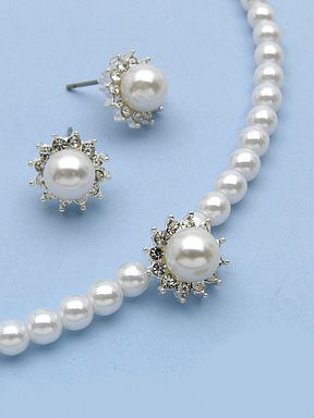 Choker set with 5mm and 8mm pearls in silver.
