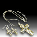 Two tone hammered silver and gold cross 2.5in drop 17in chain 40mm cross