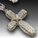 Georgeous cross White Gold Designer 18in chain