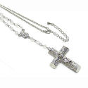 Large Rhodium 4inch drop cross on 18in chain 3D 40mm across