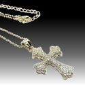 Gorgeous Gothic design in cross solid cz 2in 18in chain