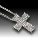 Rhodium Austrian crystal 1.5in Cross 18in chain