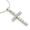 Ball chain with CZ cross 1 and half inch