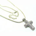 Designer cross with AAA CZ boxed in 35mm cross 16in chain Rhdoium pl