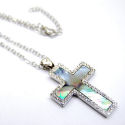 TMother of Pearl 1in silver trimmed Cross 18in chain