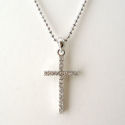 Silver 16in chain with 1in crystal cross, in silver