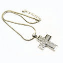 3D Crystal and Rhodium  Cross, 16 inch long with 2 inch pendant