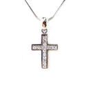 Silver Rhodium and Rhinestone 16in with 20mm cross