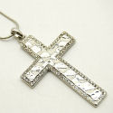 Silver and crystal hammered Cross silver snake chain 18in, 2.5in cross