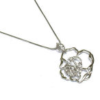 White gold rose 16in necklace