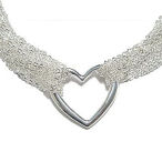 Tiffany style heart silver necklace