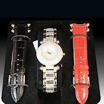Ladies Crystal studded watch  showing 3 leather bands a one of a kind