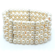 57347 $18 row glass pearl stretch bracelet VERY posh