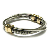 7352 $20 Unique Designer two tone gold swirl cable  hinged metal