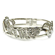 7360  $32 White Gold Designer crystal spring hinged