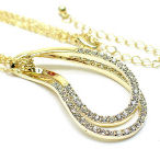 16in gold tone three strand, two in drop genuine crystals