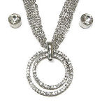 Designer double circle oflife with clear cz's   Rhodium set 16in