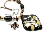 Dark brown and gold lucite and pearl 20 inch necklace with earring