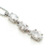 16 inch ball chain with 3 stone CZ drop