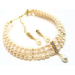 3 row 8mm pearl and crystal choker with earrings
