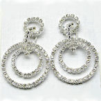 Austrian Crystals and rhinestone drop double hoop earrings