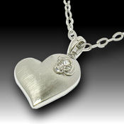 Delicate Crystal flower on heart, 30mm X 25mm, 24in chain