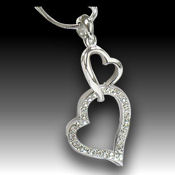 Adorable White Gold pendant, 20mm X 35mm, 18in chain