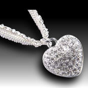 Beautiful  two tone White Gold plated double heart, 15in chain 20 X 18mm pendant