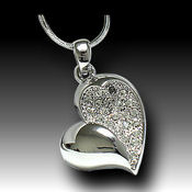 White Gold plated 18mm x 18mm petite heart, 16in chain