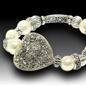White Gold and silver filgree heart stretch bracelet