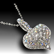 22mm x 22mm crystal heart, Sterling base 16in ball chain