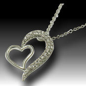 Sensual and Sexy White Gold Double heart, 17in chain 24 X 30mm pendant