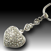 Rhodium and Crystal puff heart 18in chain, 18 x 20mm pendant