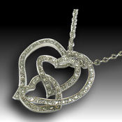 40 x 40mm pendant 18in chain, Intertwined  hearts in Rhodium and crystal