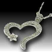 A Timless classic 38x40mm pendant 24in Chain, Rhodium and Crystal