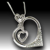Rhodium plated Double heart within a heart,18in chain 30x32mm pendant