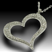 Crystal and Rhodium heart, 75 X 86mm pendant, 30in chain