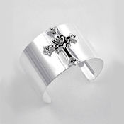 7819 $20   Silver plated Rose cross cuff  WIDE  bangle HIGH POLISH