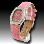 Dufonte womans pink leather band with cz surrounding beautiful pink face, includes warranty