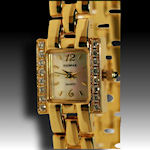 Elgin gold tone watch with CZ's high polish clasp band