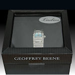 Geoffrey Beene quartz silver metal band with classy blue face
