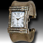 Gruen ladies gold mesh band lots of glamorous CZ'S  all daytime soap stars have their names on this one!