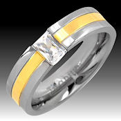 14k Gold inlay set in Titanium with center clear cz stone