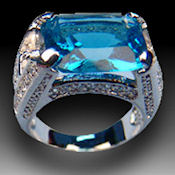MENS Sterling silver Rhodium plate with blue Sapphire center stone