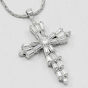 Silver brilliant color CZ cross pendant 17in