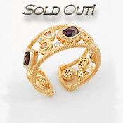 8180 $36.5  2.25W  Gold-tone  Clear Crystals  Purple Multicolored CZ Stones  Cuff  Bracelet
