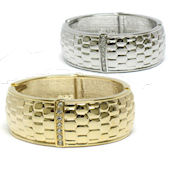 8189 $20 Gold Crystal 24mmX60mm wide spring  elegant